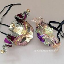 Couple Purple Accent Glitter Half face Jolly Jester & Metal Masquerade Prom Mask