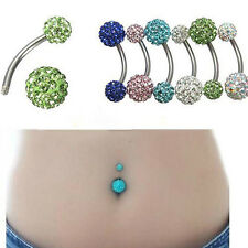 Colorful Navel Belly Button Ring Barbell Rhinestone Crystal Ball Piercing Body
