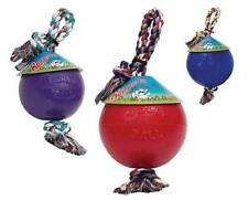 """ROMP N ROLL 8"""" BALL - Floats Jolly Pets Water Cotton Rope thru Ball Tug Dog Toy"""