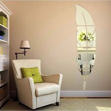 DIY 3D Modern Feather Mirror Wall Sticker Home Decoration Room Decal Mural Ar