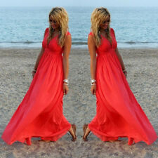 Women's Sexy V-Neck Chiffon Long Maxi Pleated Cocktail Party Formal Beach Dress