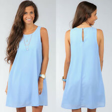 New Women Chiffon Sleeveless Casual Short Mini Dress Sweet Summer Sundress Skirt