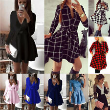 New Womens Ladies Long Sleeve Party Cocktail Short Mini Skater Dress Tops Shirt