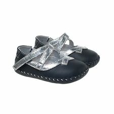 Little Blue Lamb Girls Black & Silver Leather Soft Sole Baby Shoes.