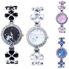 Fashion Ladies Lucky Clover Band Rhinestone Quartz Wrist Watch Women Bracelet
