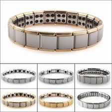 Mens Germanium Bracelet Stainless Steel Magnetic Therapy Energy Power Hip Hop