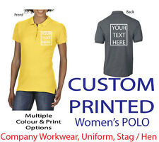 ~CUSTOM PRINTED WOMENS POLO SHIRT~ Personalised - Hen / Workwear / Event / Staff