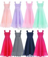 Flower Girls Dress Chiffon Suspenders Formal Wedding Bridesmaid Party Long Gown