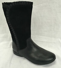 BNIB Clarks Girls Daisy Ribbon Black Leather / Suede Boots E/F/G/H Fitting