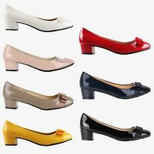 Womens Mid-Heel Bow Patent Court Shoes Ladies Office Ballet Flat Pumps US