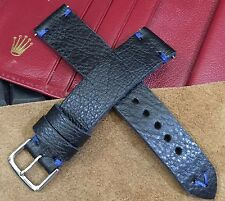 Vintage Italian Genuine Leather Watch Strap Band  H/Made 18 19 20mm Black Brown