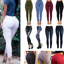 Women High Waist Skinny Leggings Stretch Fit Trousers Jeans Jegging Pencil Pants