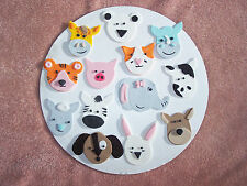 Barnyard of Edible Fondant/Gum Paste Animal Heads Cake Toppers