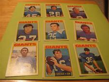 1972 Topps New York Giants Low # Team Set 9 Cards EX