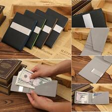 Men's Money Clip Stainless Steel  ID Credit Card Holder Pu Leather Wallet