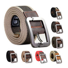 New Unisex Webbing Military Canvas Leather Pin Buckle Waist Belt Outdoors Belts