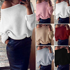 Womens Ladies Oversized Off Shoulder Chunky Knitted Baggy Sweater Jumper Top New