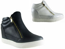 NEW LADIES WOMENS HIGH TOP CASUAL CONCEALED WEDGE ZIP SNEAKER TRAINER SIZE 3 - 8