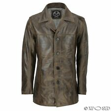 Mens Retro Style Real Leather Reefer Jacket Mid Length Coat in Antiqued Brown