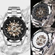 Skeleton Luxury Men Wrist Watch Mechanical Dial Stainless Steel Automatic