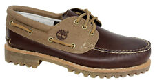 Timberland Hainsworth 3-Eye Mens Boat Shoe Burgundy Leather Canvas A15CW T5
