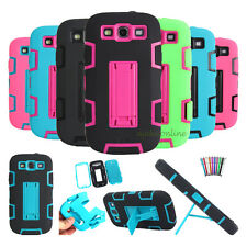 Hybrid Heavy Duty Hard/Soft Stand Case Cover For Samsung Galaxy S3 S III i9300