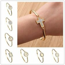 Fashion Zircon Gold Tone Stainless Steel Bangle Bracelet Women Jewelry Gift New