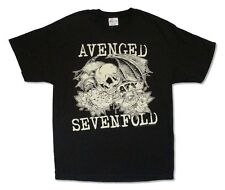 Avenged Sevenfold Flowers And Skull Image Black T Shirt New Official A7X