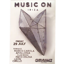 OFFICIAL Music On Marco Carola Amnesia Apollonia Ibiza 29th July 2016 Poster