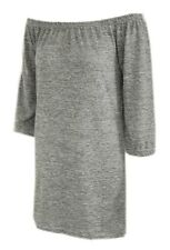 New Womens ladies knitted grey bardot off shoulder jumper dress size - 8/16
