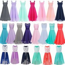 Junior Flower Girl Chiffon Dress Party Ball Gown Birthday Wedding Summer Dress