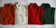 NWT Mens Polo Ralph Lauren 1/2 Zip Pullover Ribbed Mock Neck Sweater Red Green