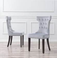 Set of 2 Elegant Tufted Fabric Armless Side Chairs Modern, Black / Gray / Taupe
