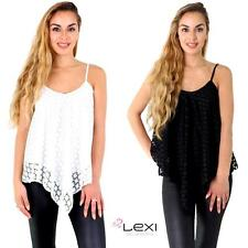 Womens Ladies Sexy Lace Mesh Strappy Loose Sleeveless Vest Cami Top Blouse Shirt