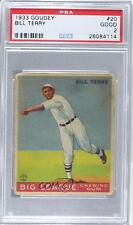 1933 Goudey Big League Chewing Gum R319 #20 Bill Terry PSA 2 New York Giants RC