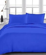 3 PC's Duvet Set and 1 Fitted Sheet Egyptian Cotton 1000 TC Egyptian Blue Solid