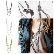 Long Women  Chic Sweater Chain Multi-layer Leaf Necklace Pendant Jewelry