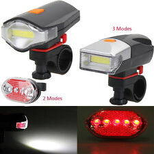 Bicycle COB LED Bike Cycling Front Rear Tail Light+5LED White Light Lamp
