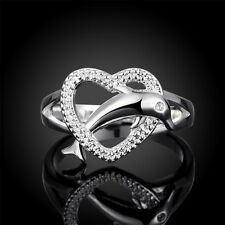Crystal Band Silver Plated Dolphin Heart Jewelry Zircon Ring