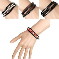 1Pcs Interlaced  Leather  Bangle  Bracelet  Cuff  Wristband  Black  Mens  New