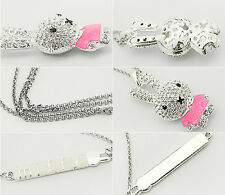 1Pcs Necklace Jewelry Girls Pop Crystal Pendant Rhinestone Rabbit Chain Enamel