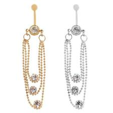 Stylish Crystal Tassels Dangle Navel Belly Button Ring Body Piercing Jewelry