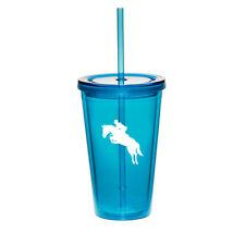 16oz Double Wall Acrylic Tumbler Cup Mug w/ Straw Horse with Rider