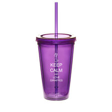 16oz Double Wall Acrylic Tumbler Pool Cup With Straw Keep Calm Love Giraffes