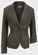 Womens Linen Coat Jacket Size 12 14 16 18 20 New Ladies Brown Buckle detailed