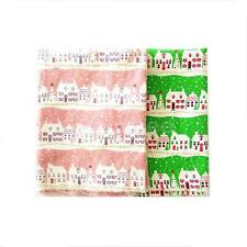 1.6 Yards Christmas Tree House Cotton Linen Fabric Green/Pink Table Decor