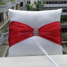 Elegant Satin Bowknot Pearl/Rhinestone Ring Bearer Pillow Cushion Wedding Bridal