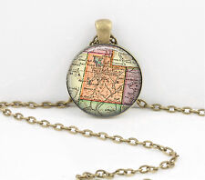 Utah Vintage Map Pendant Necklace Jewelry or Key Ring