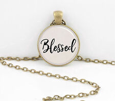 """""""Blessed"""" Word Pendant Inspiration Necklace Jewelry or Key Ring"""