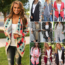 WOMENS LADIES LONG SLEEVE WATERFALL CARDIGAN TOP COAT PLUS SIZE OUTWEAR PULLOVER